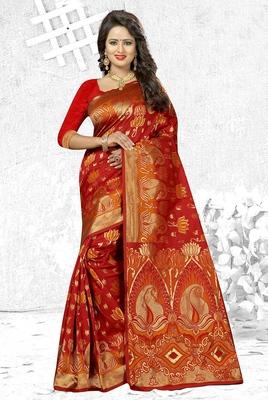 62350b790178f5 Maroon woven banarasi silk saree with blouse - Monjolika - 2208333