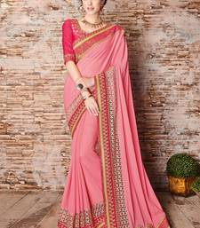 Buy Pink embroidered chiffon saree with blouse diwali-sarees-collection online