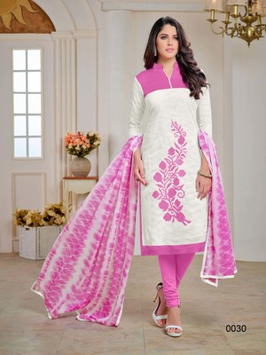 White embroidered jacquard salwar with dupatta