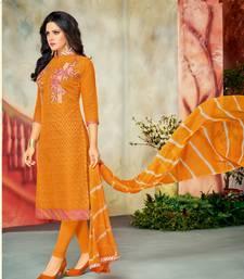 Buy Mustard embroidered chanderi salwar with dupatta salwar-kameez online