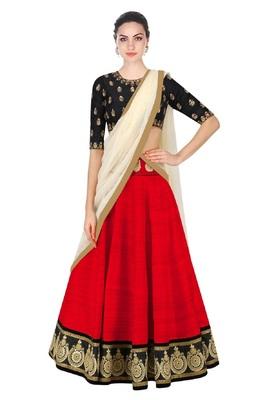 Red embroidered silk semi-stitched lehenga choli with dupatta
