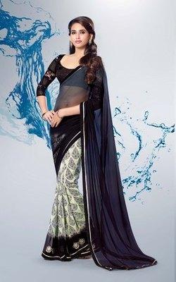 Black n White Partywear stylish designer Georgette Saree