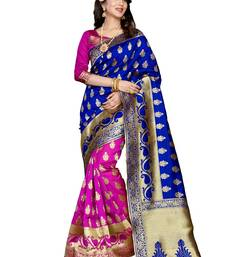 Buy Pink woven art silk saree with blouse banarasi-saree online