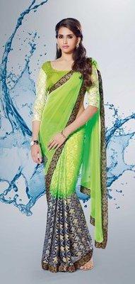 green n Black Partywear stylish designer Georgette Saree