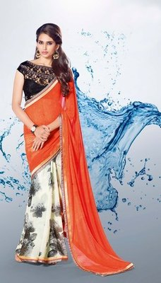 Orange n White Partywear stylish designer Georgette Saree