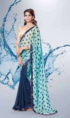 Sky blue n Navy blue Partywear stylish designer Georgette Saree