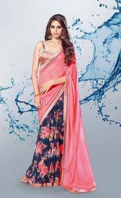 Neon Pink n Navy blue Partywear stylish designer Georgette Saree