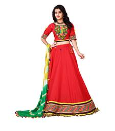 Buy Red embroidered cotton semi stitched