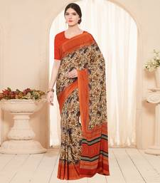 Buy orange printed crepe fashion crepe sarees great-indian-saree-festival online