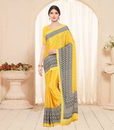 Buy yellow printed crepe fashion crepe sarees crepe-saree online