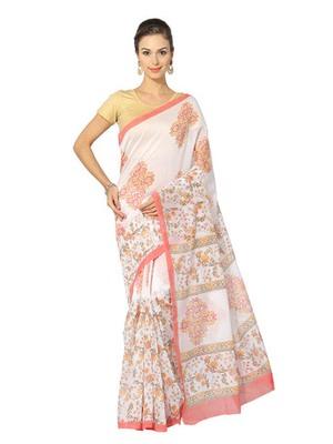 white printed cotton saree