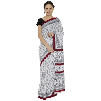 White printed cotton saree