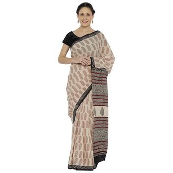 Beige printed cotton saree