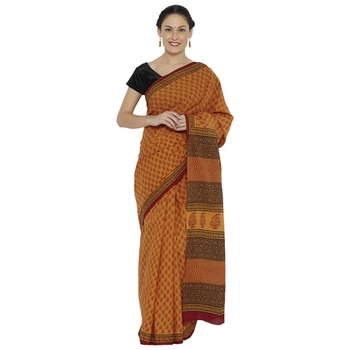 Mustard printed cotton saree