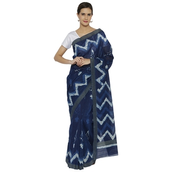 Indigo printed chanderi saree