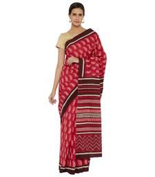 Pink printed cotton saree
