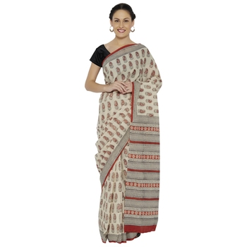 Beige printed cotton saree