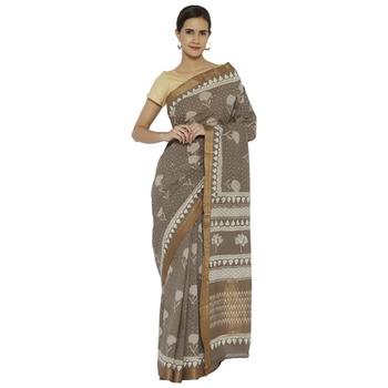 maroon printed cotton saree