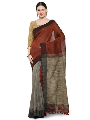rust printed others saree