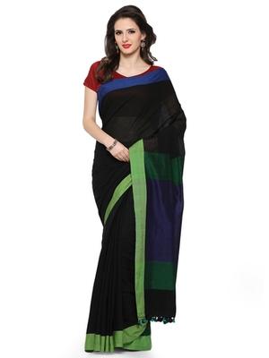 black printed cotton saree