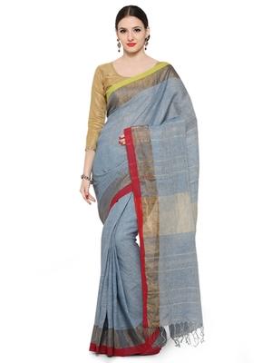 blue printed cotton saree