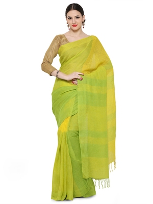yellow printed others saree