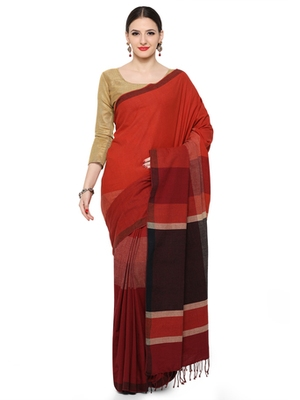 maroon printed cotton saree