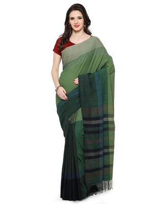 green printed cotton saree
