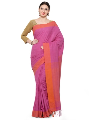 pink printed cotton saree