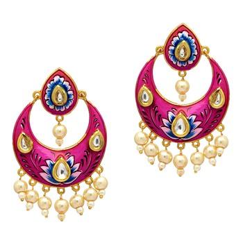 Festive Special Rani Color Rhinestone and Imitation Pearl Meenakari Earrings