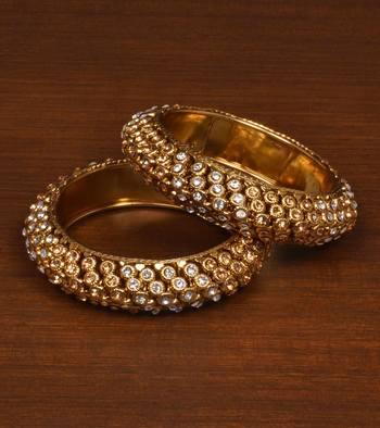Gold Plated Zircon Stone Embellished Bangles