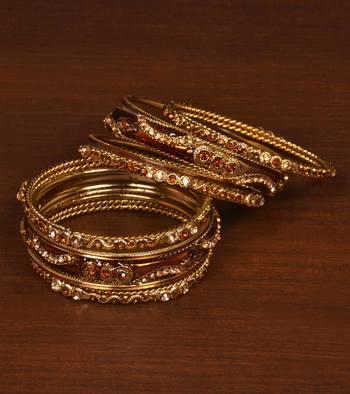Gold plated zircon embellished meena-kari bangle set