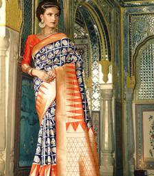 Buy Navy blue woven banarasi silk saree with blouse kanchipuram-silk-saree online