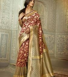 Buy Brown woven banarasi silk saree with blouse kanchipuram-silk-saree online