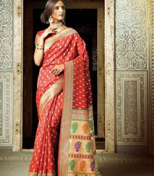 Buy Maroon woven banarasi silk saree with blouse kanchipuram-silk-saree online