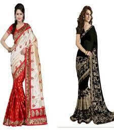 Buy Multicolor printed bhagalpuri saree with blouse ethnic-saree online