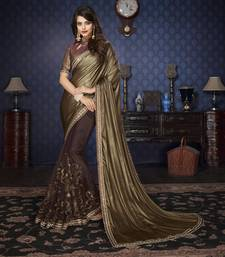 Buy Beige Embellished Lycra saree with blouse ombre-saree online
