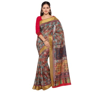 Multicolor printed  semi tussar silk saree with blouse