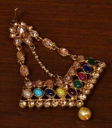 Diamond cut kundan embellished bronze look passa
