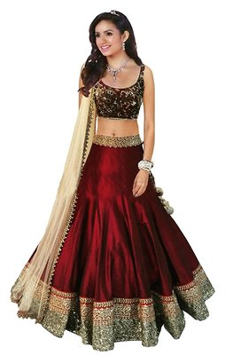 Maroon embroidered dupion silk unstitched lehenga