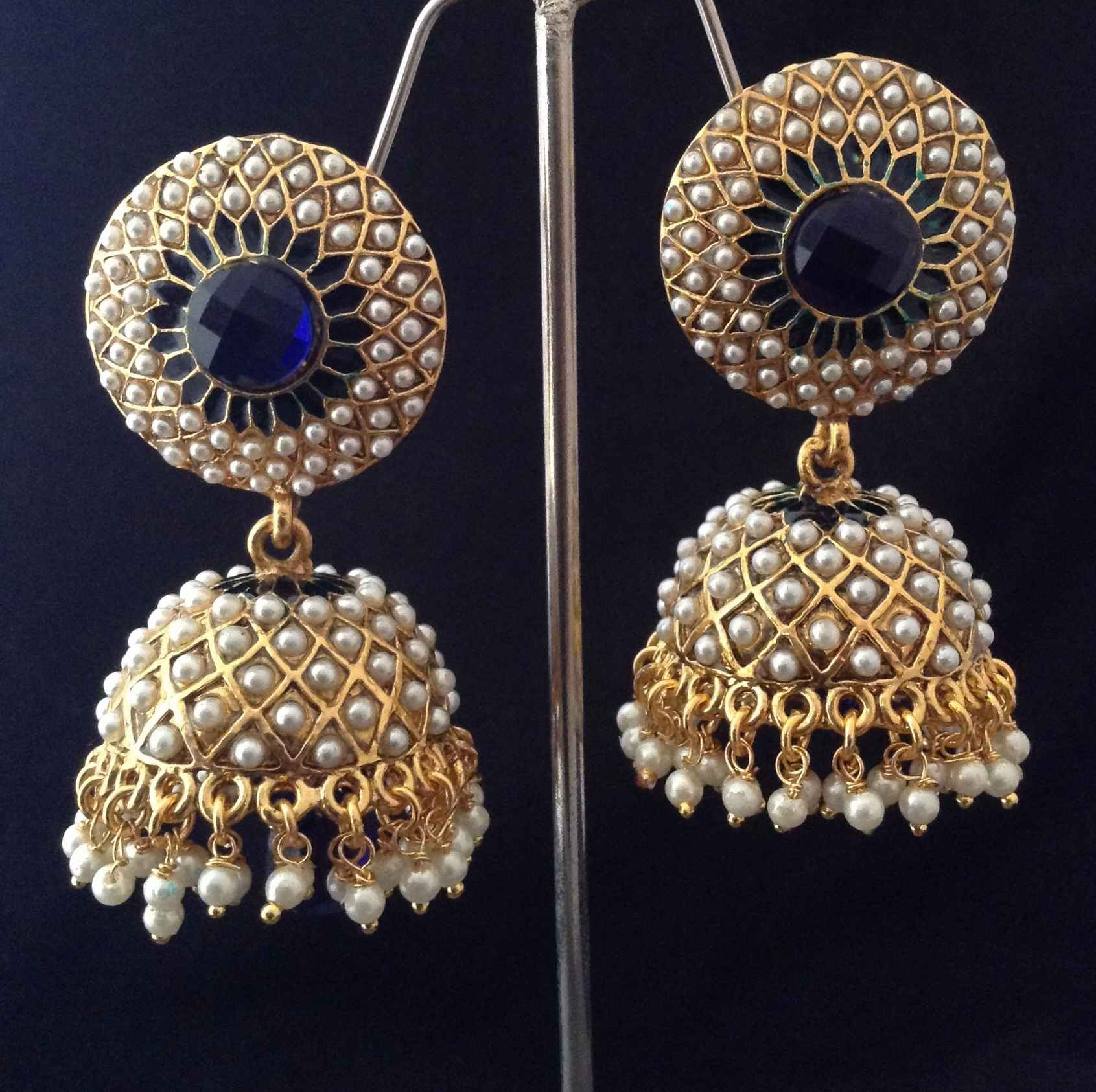 Indian Vintage Jewellery Deep Blue Golden Pearl Br Jhumka Earring Online