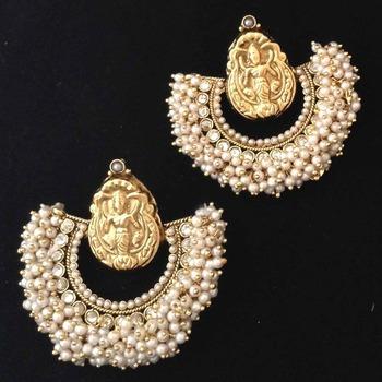 Chandni Pearl Golden Lakshmi Hoop India Ethnic Copper Jewellery Earring
