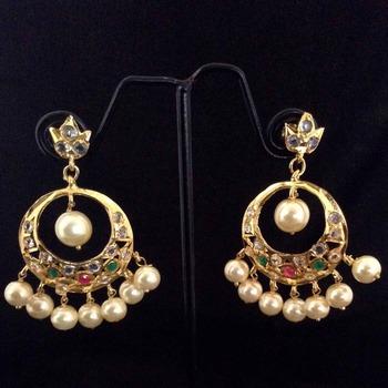 Ethnic India Br Pearl Dangler Maroon Green Nizam Imitation Jewellery