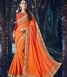 Buy orange embroidered silk saree with blouse designer-embroidered-saree online