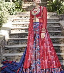 Multicolor embroidered satin unstitched lehenga