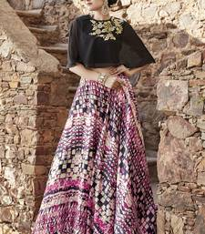 Buy Multicolor embroidered satin unstitched lehenga