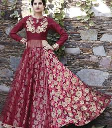 Buy Multicolor embroidered satin unstitched lehenga reception-ceremony-dress online