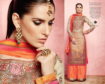 Orange Colour Art Silk Embroidered Straight cut Semi Stiched Dress Material