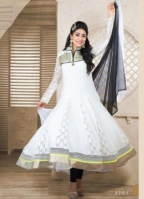 White Colour Embroidered Cotton  Semi Stitched anarkali suit