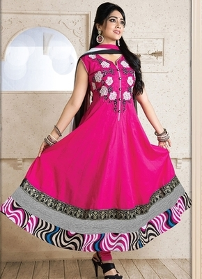 Pink Colour Embroidered Cotton  Semi Stitched anarkali suit